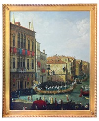 a regatta on the grand canal, venice by canaletto