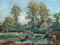 the duck pond at a cornish farm by george ayling