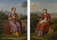 heilige dorothea (+ heilige agnes; 2 works) by joseph anton rhomberg