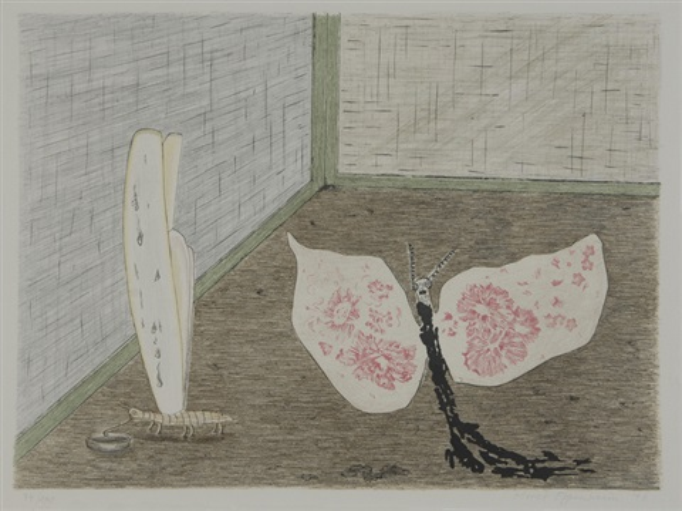 die seidenmotte und die stolze rosamunde from parapapillonneries by meret oppenheim