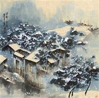 渔村雪夜 by liu maoshan