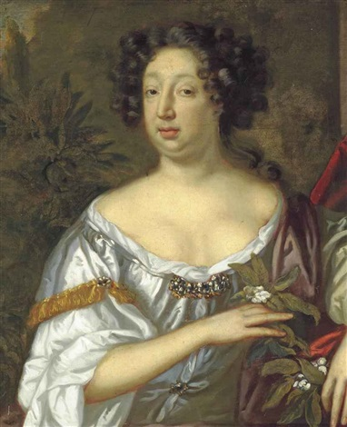 portrait of a lady believed to be lady frances smith 1635 1692 half length in a white dress holding orange blossom in her right hand by sir peter lely