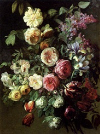 a still life of flowers by charles de haspe