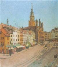 altstadt von posen mit rathaus by gustav hofmann-grötzingen