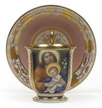 tasse mit untertasse - antonius von padua mit jesuskind und weißer lilie by fischer and miegs