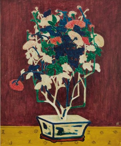 potted chrysanthemums by sanyu