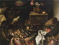 natura morta con bacile di metallo e vaso di fiori, carciofi, sedani, cavolo, pere e pesche by bartolomeo arbotori