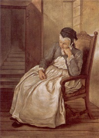 a maidservant seated in an interior by charles françois hutin