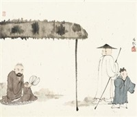 亭下高士 立轴 设色纸本 by ma jun