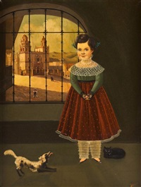 portrait of a girl with dog by horacio rentería rocha
