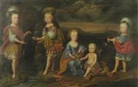 fünf kinder der fürstlichen familie anhalt mit ihrem jagdhund vor hügellandschaft bei einem quell by abraham snaphaen