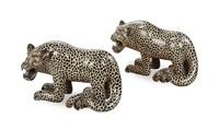 figures of crouching jaguars (pair) by alberto bautista gomez