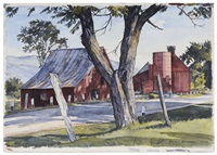 red barns across a road by luigi lucioni