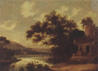 a wooded river landscape with figures near a village by pieter cosyn