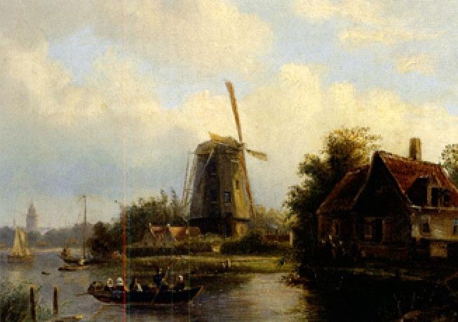 flusslandschaft mit übersetzenden booten windmühle und malerischem gehöft by willem vester
