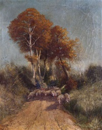 berger aux moutons sur chemin by charles warland