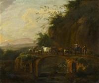 italienische landschaft mit viehhirten auf einer alten römerbrücke by johannes van der bent