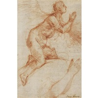 an angel kneeling in adoration, with the angel's arms (study) by francesco (cecco bravo) montelatici