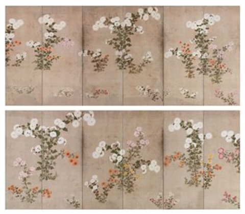 chrysanthemums screens pair by japanese school sotatsu 17