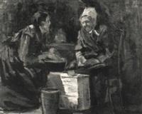 zwei bäuerinnen im gespräch by wilhelm runze