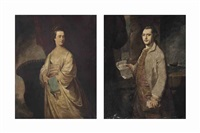 portrait of a lady, three-quarter-length, in a white dress, holding a book in her right hand, beside an urn and portrait of a gentleman (pair) by francis cotes