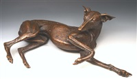 a recumbent whippet by sally arnup