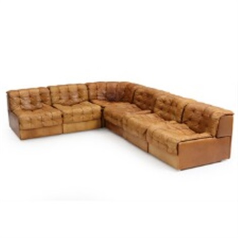 Incroyable Modular Sofa In Brown Leather Consisting Of Five Side Modules And One  Corner Module By De