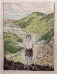 a boy in the landscape by meir gur-arie