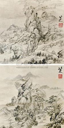 山水 (2 works) by bada shanren