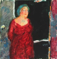 portrait of woman in red dress by kai lindemann