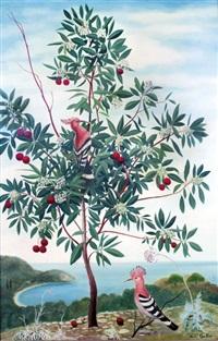 l'arbres en fleurs et oiseaux exotiques by andré quellier