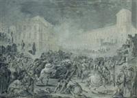 l'empereur vitellius traîné par le peuple pour être lapidé by jacques gamelin