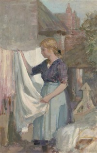 putting the washing out to dry by alfred john billinghurst