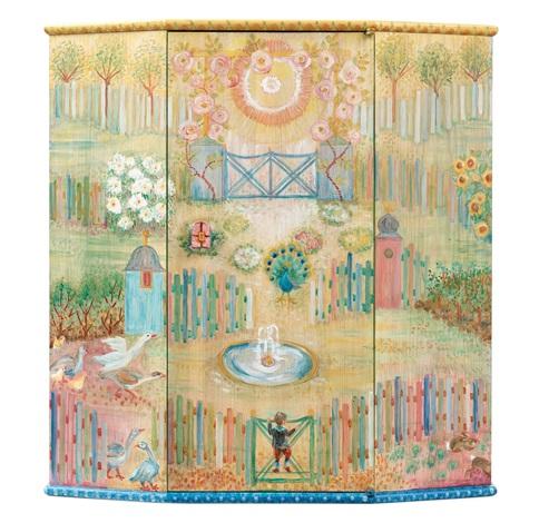 A Carl Malmsten Wall Hanging Cabinet U0027pluntanu0027 (decorated By Liselotte  Malmsten) By