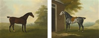a dappled grey hunter tethered to a stable and a dark bay hunter in a landscape (pair) by john nost sartorius