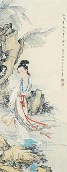 1946 丙戌 蕉叶仕女 by xu cao