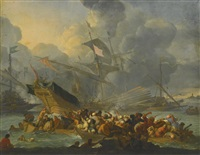 battle of lepanto, 1571, with a crowded rowing boat and men struggling to shore in the foreground by johannes lingelbach