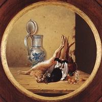 jagdliche nature morte: hase, birkhuhn und rebhuhn, walnüsse, henkelkrug und schnapsstamper by michael hesner