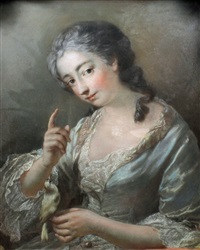 portrait of a seated middle aged woman - marquise de st. priest (?) by continental school (18)
