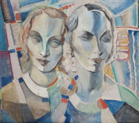 double portrait cubiste de femmes by paul joostens