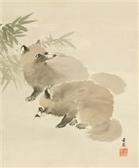 zwei tanuki bei vollmond by kinpô mochizuki