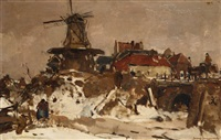 village en hiver avec moulin à vent by frans langeveld