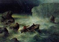 sturm an felsiger küste, drei männer in einem ruderboot by theodor köppen