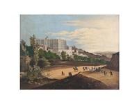 vista del palacio real de madrid con el manzanatres al fondo by jose maria avrial y flores