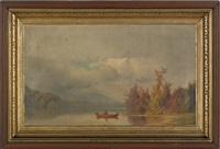 autumn lake scene by george frederick bensell