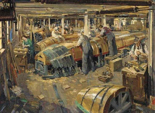 interior of a plane making factory by terence cuneo