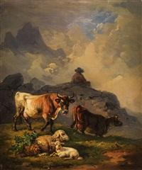 kühe und schafe in hügeliger landschaft by hermann volz