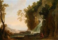 südliche landschaft mit einem wasserfall und dem heiligen hieronymus by johann-heinrich wüst