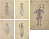 costume designs for kitege (set of 5) by alexei konstantinovich korovin