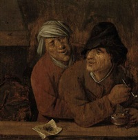 two peasants smoking in a tavern by pieter symonsz potter